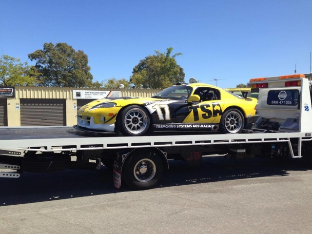 Track day car being transported by Tilt Tray in Perth