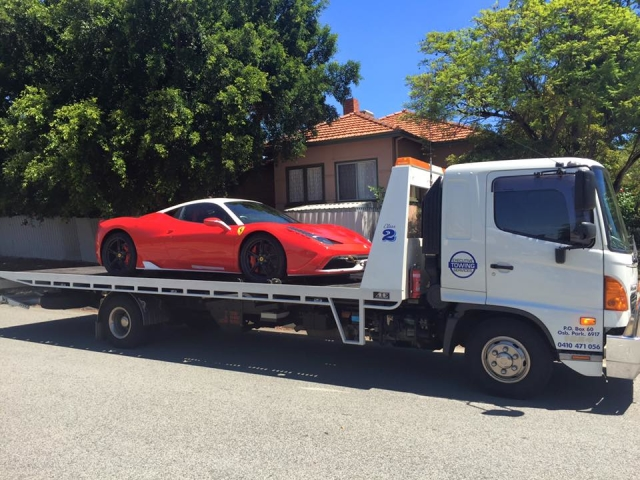 Ferrari on a tilt tray in Perth Australia