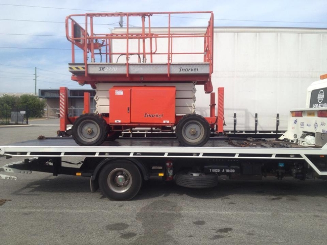 cherry picker on the back of a tilt tray truck in Perth