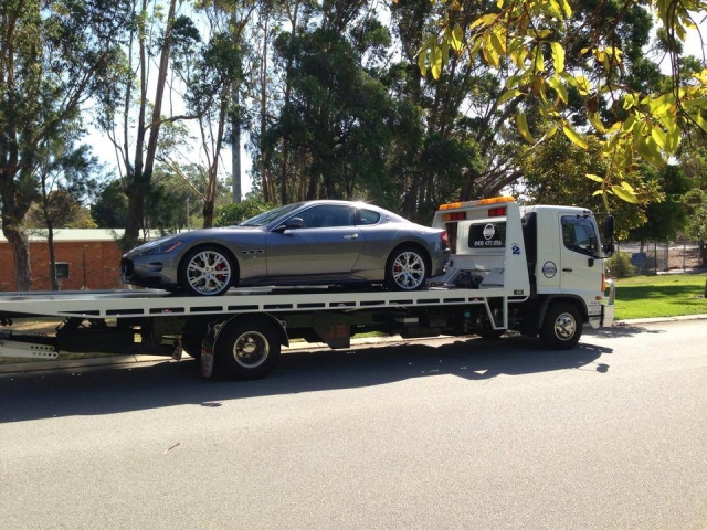 silver sports car on a tilt tray in Western Australia